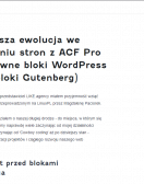 Nasza ewolucja we wdrażaniu stron z ACF Pro na natywne bloki WordPress (bloki Gutenberg)